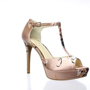 Jessica Simpson Bansi Pink T-Strap Heels Size 8.5